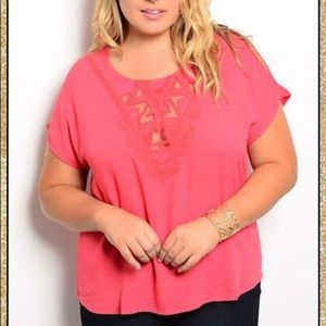 Tops - 'All I See' Deep Coral Top (CURVY)